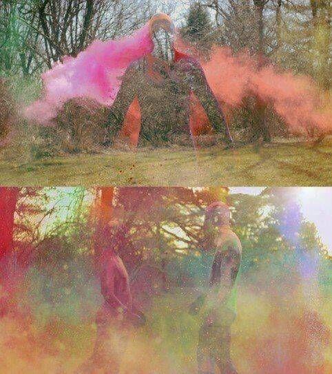 holi powder kleurpoeder van traditie naar kunstvorm filmmaker paul trillo shortfilm salience silhouetten door middel van kleurexplosies