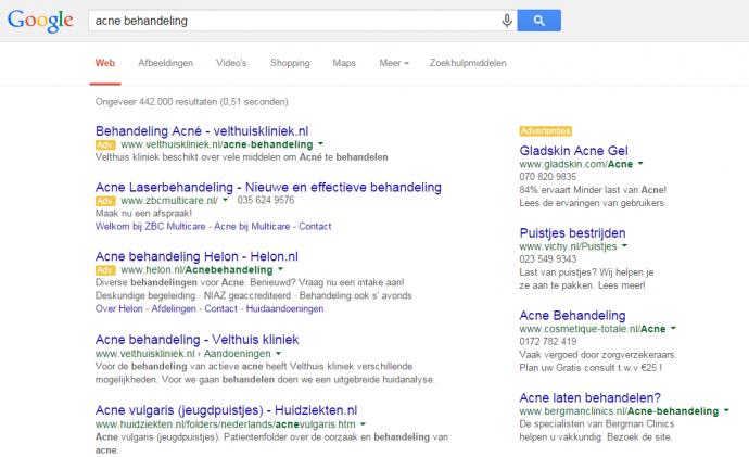 direct vindbaar in google met search advertising acne behandeling