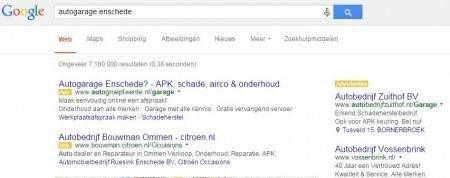 Autogarage enschede google adwords