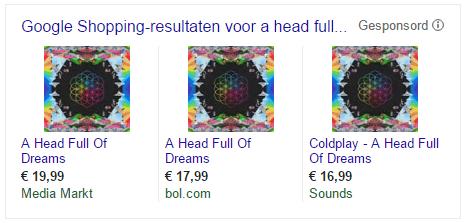 Google shopping voorbeeld
