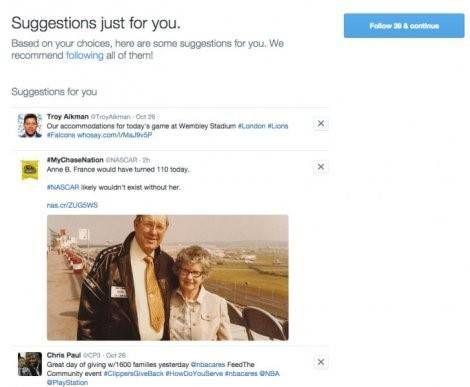 Twitter registratieproces suggesties