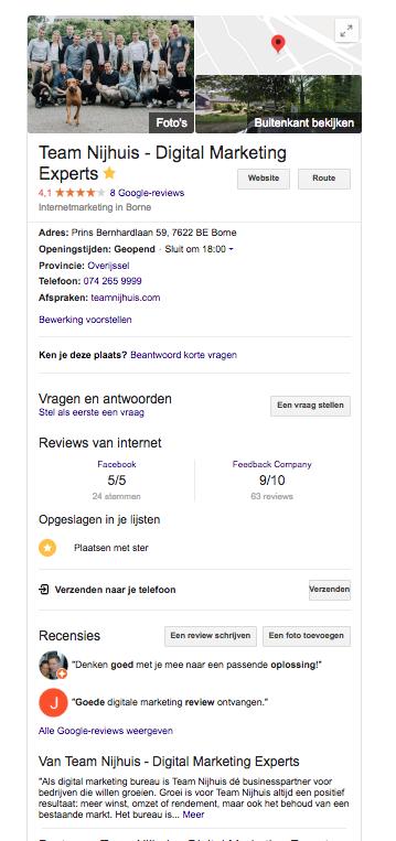 Maak gebruik van een Google My Business account