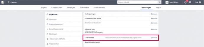 Facebook- chat instellingen Team Nijhuis