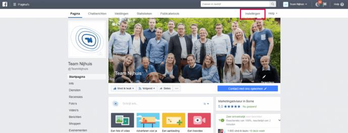 Facebook-instellingen Team Nijhuis