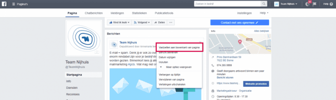 Facebook-pinnen Team Nijhuis