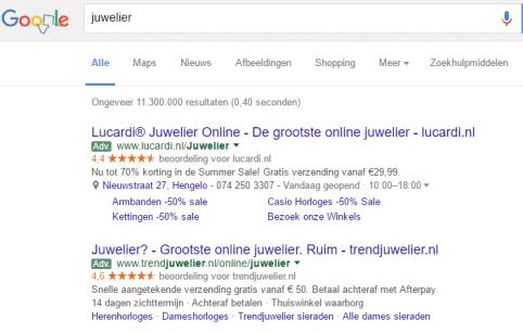 hoe verhoudt facebook zich tot google zoekwoord juwelier