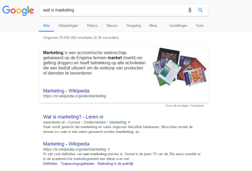 Featured snippet google resultaat