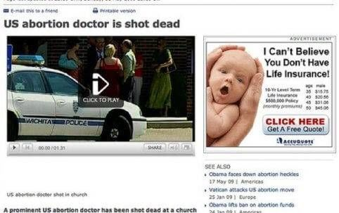Abortus arts doogeschoten advertentie baby levensverzekering