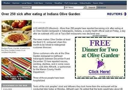 Advertentie eet gratis bij voedselvergifteging bericht