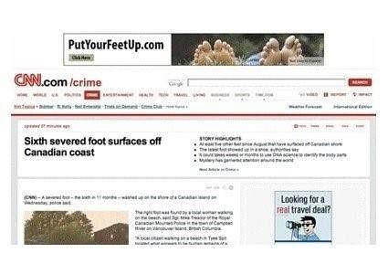 Advertentie voeten omhoog bij nieuws voeten gevonden