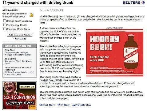 Bier advertentie 11-jarige opgepakt voor dronkenmansrit