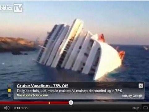 Ga op cruise vakantie online advertentie bij gekanteld cruiseschip