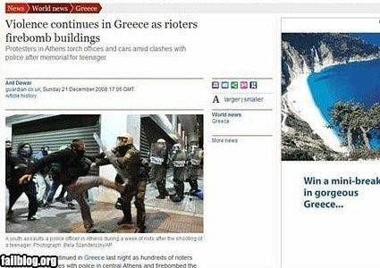 Geweld houd aan griekenland win een trip online advertertentie