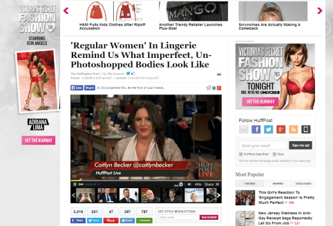 Gewone vrouw zonder photoshop omringt door advertenties met photoshop