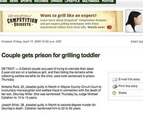 Grill tip advertentie bij grillen dochter