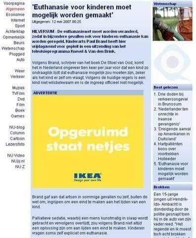 Ikea adverteert opgeruimd staat netjes bij euthanasie voor kinderen bericht