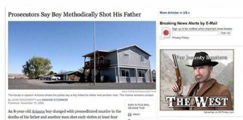 Jongen schiet vaak op vader promotie voor bounty hunters met pistool
