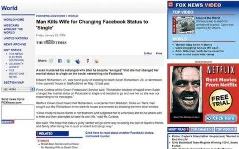 Moord door facebook status the shining jack nicholson advertentie