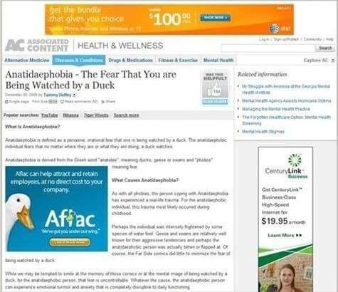 Online advertentie van eend bij bericht angst eenden