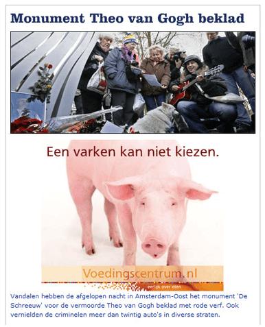 Online advertentie voedingscentrum varken bij monument theo van gogh moord
