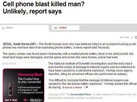 Samsung adverteert online bij ontplofte telefoon