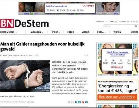 Single advertenties bij man aangehouden huiselijk geweld