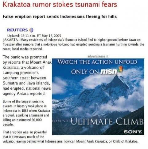Valse vulkaanuitbarsting tsunami advertentie voor ultimate climb seizoen zie hoe de actie vordert
