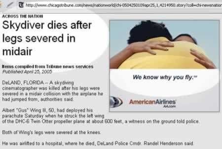 Vliegadvertentie bij dood skydiver