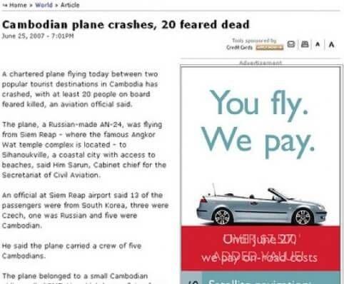 Vliegtuig crasht je vliegt dan betaal je