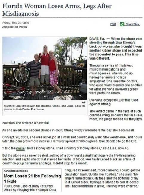 Vrouw verliest benen armen advertentie stelt dat ze is afgevallen