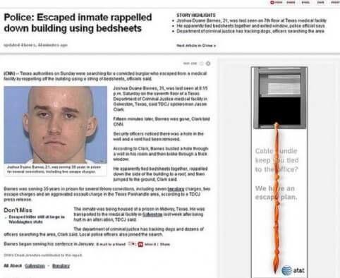 Gevangen ontsnapt touwladder agent snapt