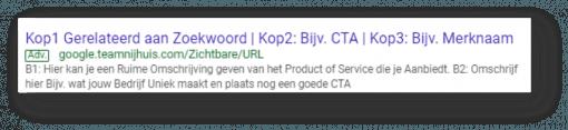Voorbeeld responsive search ads Google