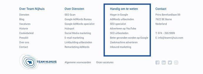 Footer menustructuur website Team Nijhuis