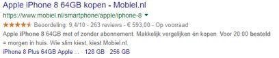 Prijzen en beschikbaarheid snippet in de zoekmachine resultaten pagina