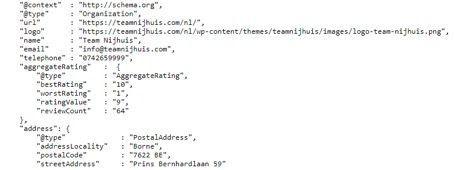 Voorbeeld structured data gebruik maken voor Google