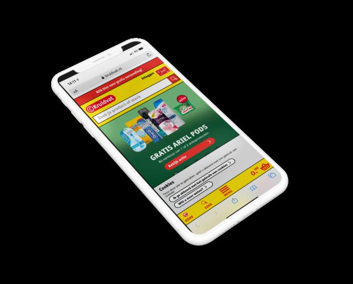Het menu onder de duim op de mobiele website van de Kruidvat