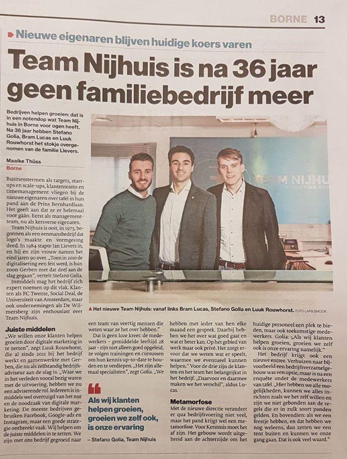 interview in Tubantia Stefano Golia, Luuk Rouwhorst en Bram Lucas