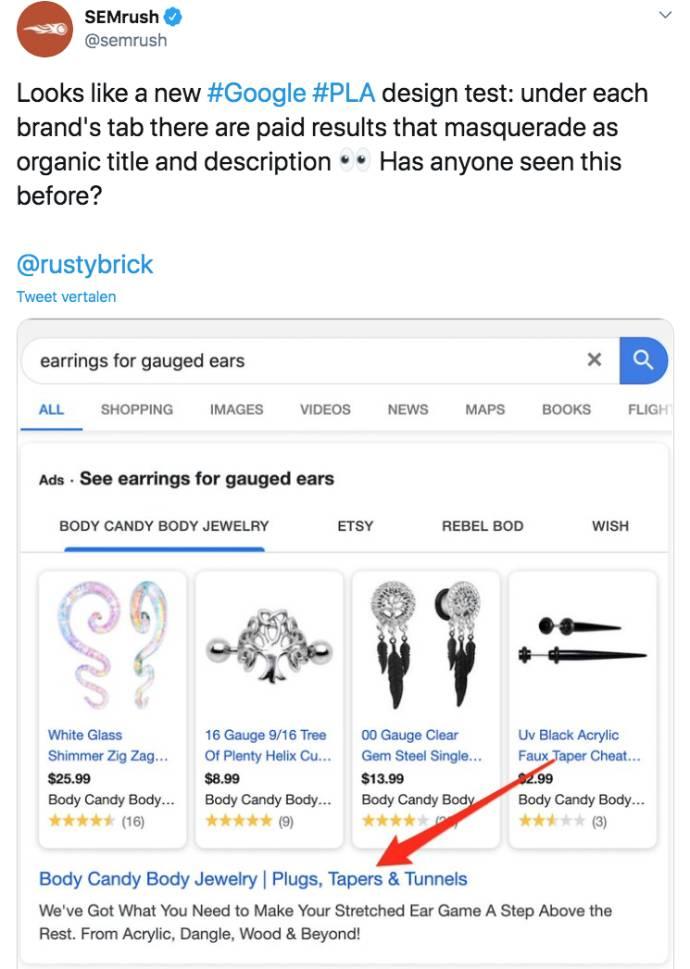 Voorbeeld Google Shopping advertentie met link