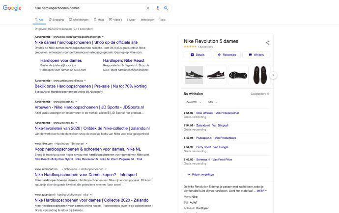 Google resultaten pagina met shopping, search ads en organische resultaten