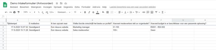 Resultaten in de online omgeving van Google Docs