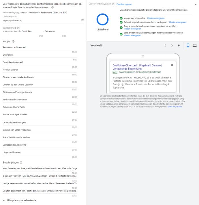 Responsieve zoekadvertentie instellingen via Google Ads