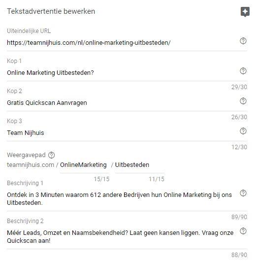 Uitgebreide zoekadvertentie instellingen via Google Ads